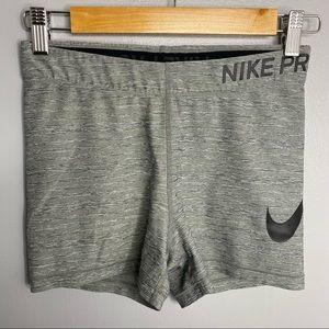 NIKE Pro Gray and Black Spandex Shorts